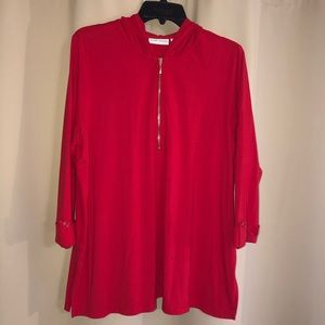 Susan Graver Red Hooded Tunic NWOT Size L